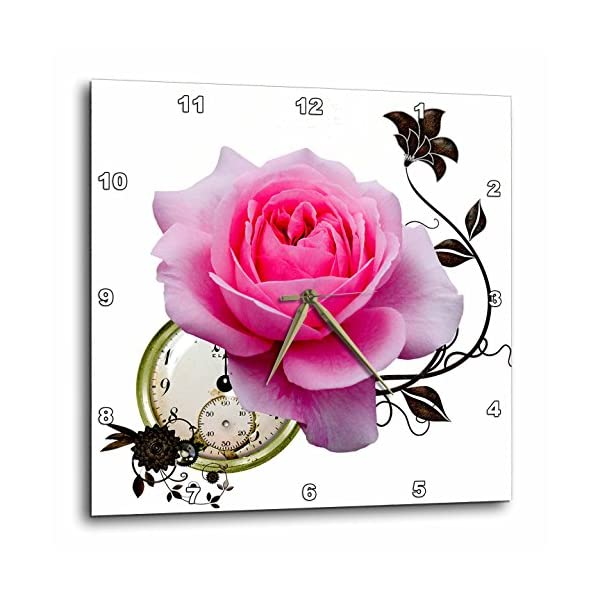 3dRose Steampunk Pink Rose Design-Wall Clock, 15-inch (DPP_102674_3) 3