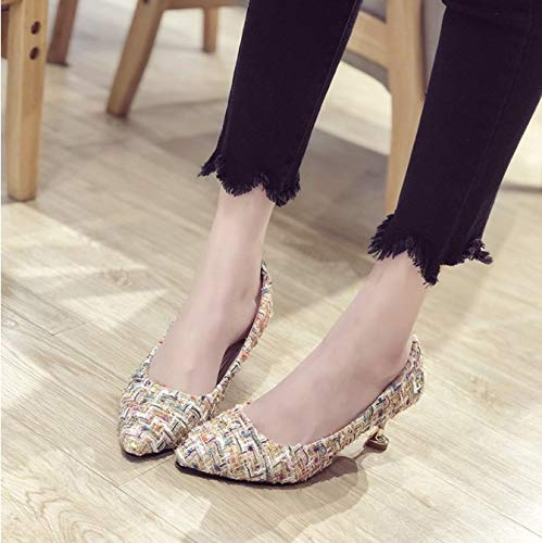 Orangeskycn Women Single Shoes Sandals Fashion Summer Retro Casual Color Woven High Heel Roman Working Shoes White by Orangeskycn Women Sandals (Image #2)