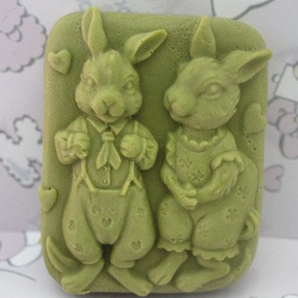 Let'S Diy Cute Rabbit Couple 3D Silicone Candle Moulds Handmade Soap (Diy Simple Couple Costumes)