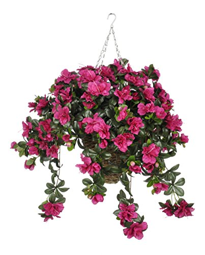 House of Silk Flowers Artificial Fuchsia Azalea in Square Hanging Basket