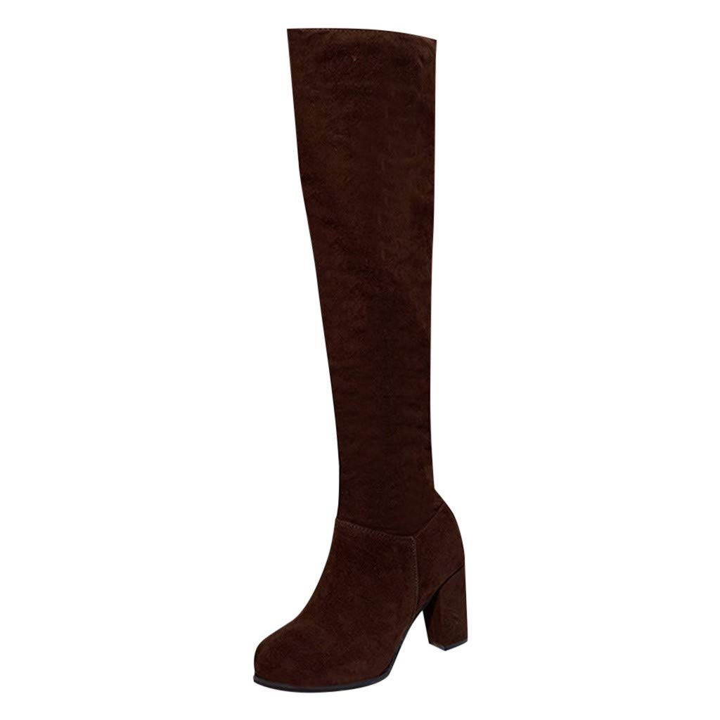 Vibola Women Knee Boots Chunky Square Heel Suede Knee High Comfy Side Zipper Round Toe Warm Long Tube Winter Shoe by Vibola
