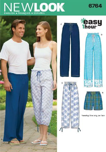 New Look Sewing Pattern 6764 Miss/Men Separates, Size A (XS-S-M-L-XL) (Sewing Pajama Pants)