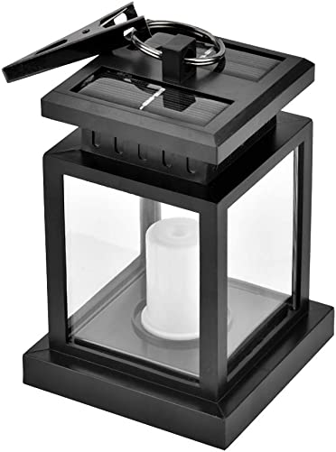 koulate Outdoor Solar Powered Candle Lantern, Outdoor Waterproof Hanging Garden Candle Lantern Vintage Candlestick Lantern for Garden Patio Deck Yard Fence Decoration