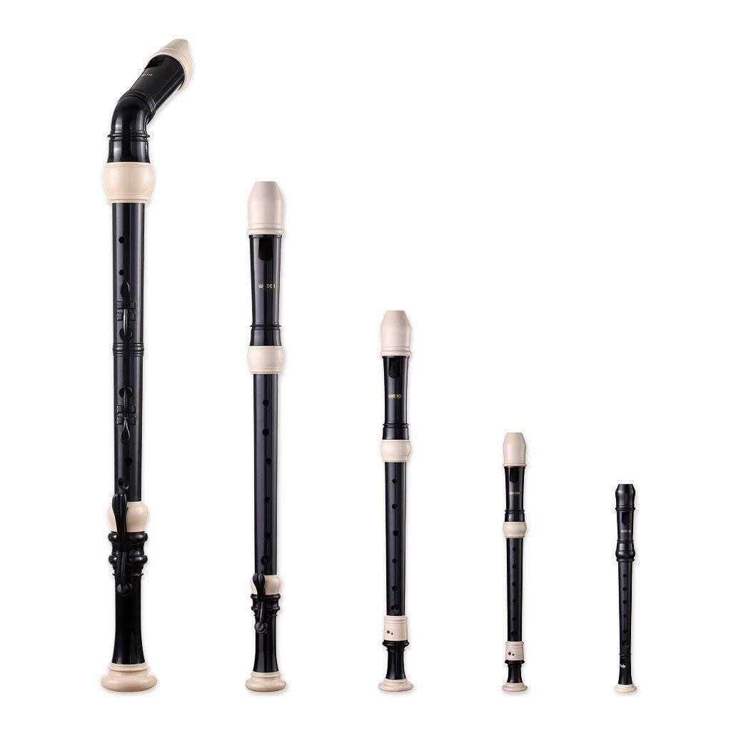 Woodi Recorder Set RS-605B Black & Ivory (Bass, Tenor, Alto, Soprano, & Sopranino) by Woodi USA
