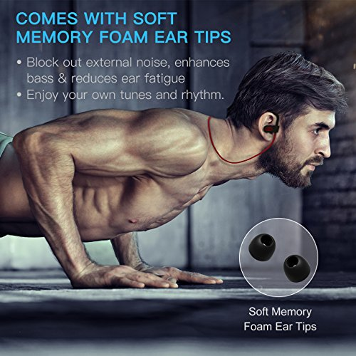 Mpow Flame Bluetooth Headphones Sport IPX7 Waterproof Wireless Sport Earbuds, Richer Bass HiFi Stereo In-Ear Earphones, 7-9 Hrs Playback, Running Headphones W/CVC6.0 Noise Cancelling Mic, Red 6