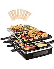 Russell Hobbs Gourmetstel, Raclette Multi 3-in-1, 8 Raclettepannetjes & Houten Spatels, Uitneembare grillplaat, Vaatwasserbestendig, Anti-Aanbaklaag, Aluminium & Stenen grillplaat, 1400 Watt, 26280-56