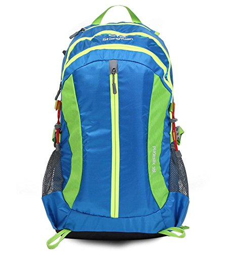 YYY-Ocio al aire libre bandolera hombres y mujeres montañismo bolso 30L bolsa deportes mochila de senderismo , green Blue