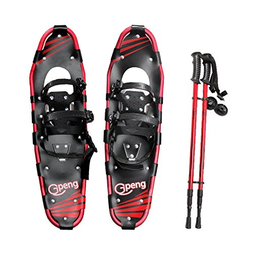 Gpeng Snowshoes 14' /21'/ 25'/ 27'/ 30' for Adults Men Women Youth Kids with Pair Antishock Snowshoeing Poles , Adjustable Ratchet Bindings, Free Carrying Tote Bag (25 Inch)