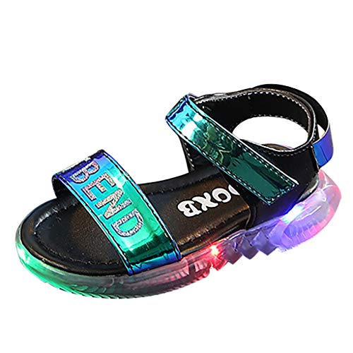 (Alimao Artificial Leather Lightweight Non-Slip Multicolored LED Illuminated Sneakers Fingerless Sandals,Boy and Girl's Glow up Walkinging Sneaker )