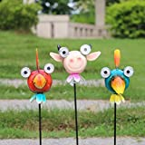 W-DIAN solar garden lights metal art outdoor Patio decorative Animal decor Stake Light LED lawn Metal garden decor 3-Pack