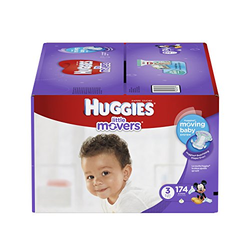 Branded HUGGIES Little Movers Diapers, Size 3, 174 Diapers , Weight 16-28 - Branded Diapers with fast delivery (Soft and Comfortable for Babies) by Product of HUGGIES