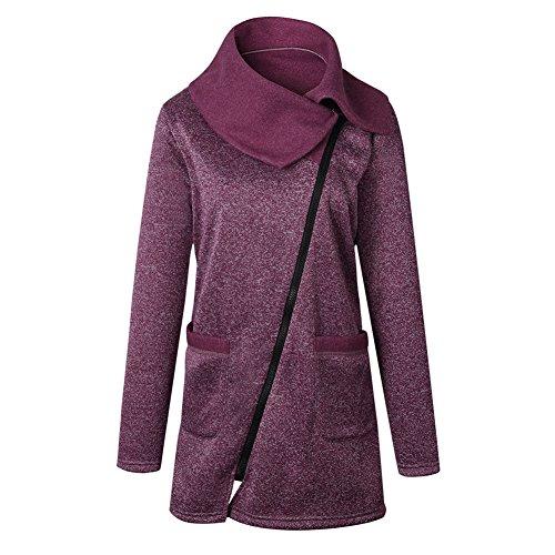 bolsillos invierno Fuyingda con más tamaño largo Púrpura cuello Jacket Mujeres cremallera Coat Outwear Único alto sudadera Casual 00BqHO
