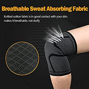 Lonew Compression Knee Sleeve, Best Knee Brace Support for Sports, Running, Jogging, Basketball, Joint Pain Relief, Arthritis and Injury Recovery&More, Men and Women (2 Piece)L