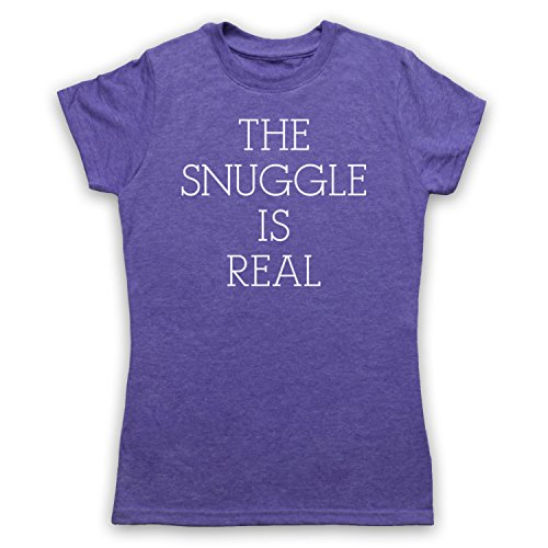 The Snuggle Is Real Cute Parody Slogan Camiseta para Mujer Morado Clásico