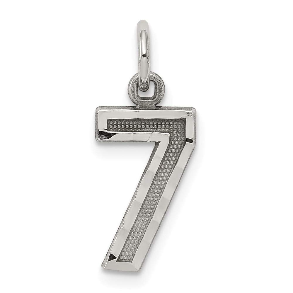 Solid 925 Sterling Silver Small Diamond-Cut #7 Pendant Charm 7mm x 20mm