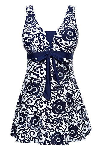 Wantdo Women's Solid Halter One Piece Dress swimsuit Cute Bathing Wear Dress(Navy,US 10-12)