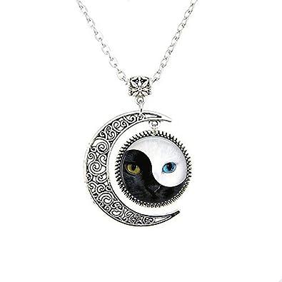 Ying Yang colgante, collar del gato, gato de joyería de la Luna, luna de vidrio collar de cuadro: Amazon.es: Joyería