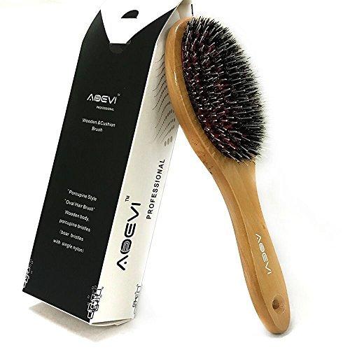 Hair Brush Natural bristles brush with Massage ball Natural