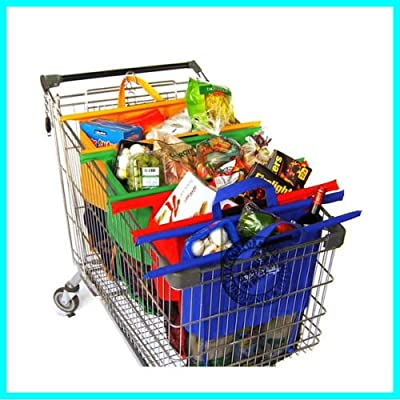 Reusable Shopping Bags Set of 4pcs Eco Cartable Bags Reusable Grocery Cart Shopping Trolley Bags 4 colors
