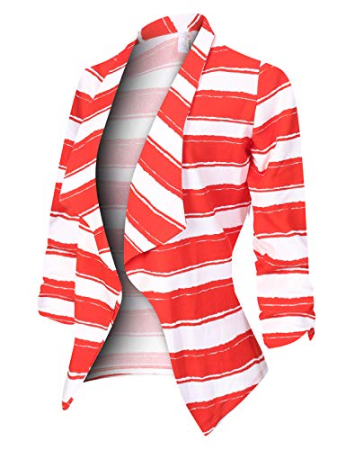 MixMatchy Women's [Made in USA] Classic 3/4 Gathered Sleeve Open Front Blazer Jacket (S-3XL) Stripe Red M