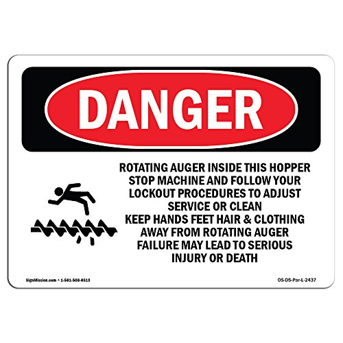 (OSHA Danger Sign - Rotating Auger Inside This Hopper | Choose from: Aluminum, Rigid Plastic Or Vinyl Label Decal | Protect Your Business, Construction Site, Warehouse & Shop Area | Made in The USA)