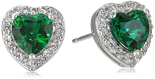 Sterling Silver Created Emerald and Created White Sapphire Halo Heart Stud Earrings