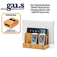Great Useful Stuff Eco-Friendly Bamboo SMART Multi-Device Charging Station with USB+AC Power Hub