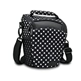 SLR/DSLR Camera Case Bag for Mirrorless , Micro 4/3 with Top Loading Accessibility , Adjustable Shoulder Sling , Padded Handle, Removeable Rain Cover & Weather Resistant Bottom by USA Gear - Polka Dot
