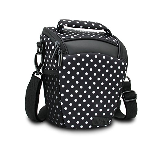 USA Gear SLR/DSLR Camera Case Bag with Top Loading Accessibility, Adjustable Shoulder Sling, Padded Handle, Removeable Rain Cover & Weather Resistant Bottom - Polka Dot