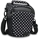 SLR/DSLR Camera Case Bag with Top Loading Accessibility , Adjustable Shoulder Sling , Padded Handle, Removeable Rain Cover & Weather Resistant Bottom by USA Gear - Polka Dot