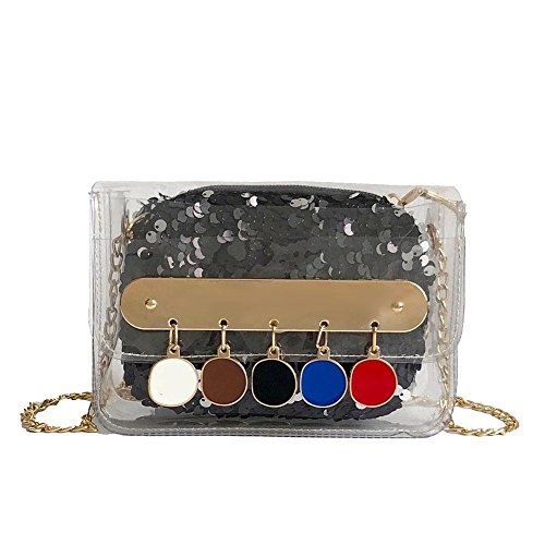 Flap Bag Clear Shoulder Messenger Glitter Widewing Black Tassel Party PVC Sequin Women Bag 4HqzP