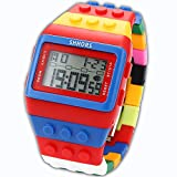 Block Silicone LCD Digital Light Men's Ladies Sport Watch Red Blue LED090