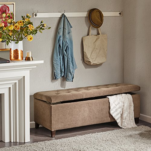 Brown Designer Vanity - Shandra Tufted Top Storage Bench Brown See below