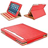 """MOFRED® Red & Tan iPad Air 2 (Launched 2014) Leather Case-MOFRED®- Executive Multi Function Leather Standby Case for Apple iPad Air 2 with Built-in magnet for Sleep & Awake Feature -- Independently Voted by """"The Daily Telegraph"""" as #1 iPad Air 2 Case!"""