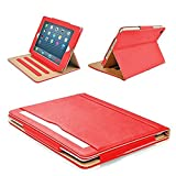 MOFRED Red & Tan Apple iPad Executive Leather Case for Apple iPad 9.7' (For 2017 & 2018 Versions)- Voted by 'The Daily Telegraph' as #1 iPad Case! (iPad Models A1822, A1823, A1893, A1954)