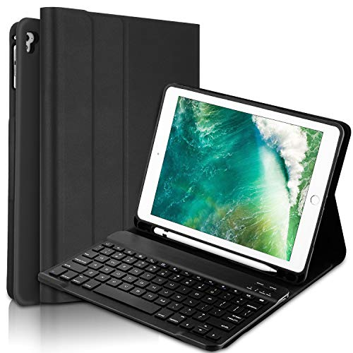 Peyou Keyboard Case Compatiable for iPad 9.7 2018 6th Gen-iPad 2017 5th Gen-iPad Pro 9.7-iPad Air 2&1,Detachable Wireless Bluetooth Magnetic Keyboard Case with Pencil Holder, Auto Wake/Sleep, Black