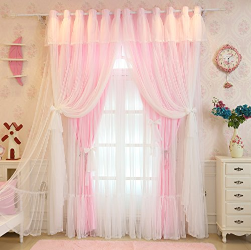 Lotus Karen Pink Princess Curtains for Girls Bedroom Cute Bow-Knots 4-Layer Tulle Kids Curtains Sweet Ruffles Valance Grommet Semi-Shading Blackout Curtain 2 Panels Set