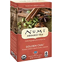 Numi Organic Tea Golden Chai, 18 Bags, Spiced Organic Black Tea in Non-GMO Biodegradable Tea Bags, Premium Fair Trade Assam Black Tea Blended with Chai Spices, Drink Hot or Iced
