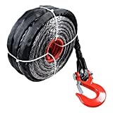 95ft x 3/8'' 20000+ LBs Synthetic Fiber Winch Line Cable Rope (Black Winch with Red Hook)