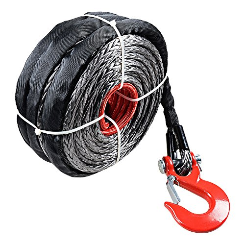 20000 Pound Synthetic Winch Rope Recovery Cable with Red Hook – 95 Foot Length x 3/8″ Thickness, Black