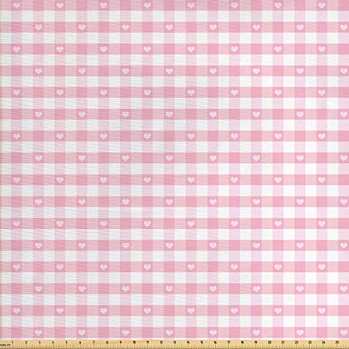 Fabric by The Yard, Lovely Romantic Pattern with Cute Little Hearts Children Kids Girlish Design, Decorative Fabric for Upholstery and Home Accents, 3 Yards, Baby Pink White ()