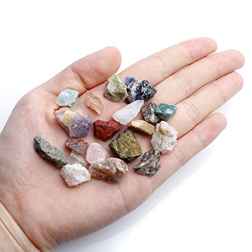 Top Plaza Mineral Rock Variety Tumbled Rough Gemstone Meteorite Fragment Healing Energy Crystal Collection Box (20 pcs Rough Mini Stones - Rock Plaza