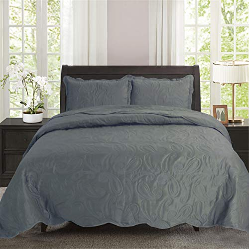"Townhouse 3-Piece Paisley Reversible Bedspread Bed Coverlets Quilt Sets 118""x106"" (Grey, King)"