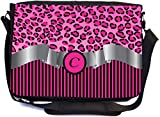Rikki Knight Letter ''C'' Hot Pink Leopard Print Stripes Monogram Design Premium Messenger Bag - School Bag - Laptop Bag - with padded insert for School or Work - With Matching Pencil Case