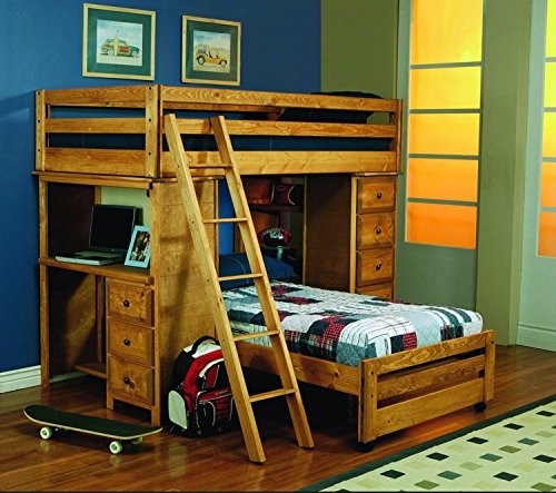 (Coaster Home Furnishings Wrangle Hill Twin Over Twin Loft Bed with Built-in Desk, Amber Wash)