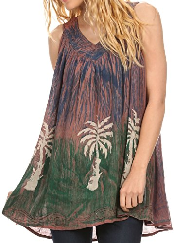 Sakkas 89 - Loonmiya Long Tall Embroidered Batik Sleeveless Tank Top Shirt Blouse Top - Mocha - - Clothing Soho Stores