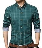 YTD Men's 100% Cotton Long Sleeve Plaid Slim Fit Button Down Dress Shirt US XL Green