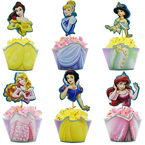Betop House Snow White Belle Cinderella Aurora Ariel Jasmine Princess Themed Girls Birthday Party Halloween Decorative Wrappers and Toppers (Fairy Tale Themed Halloween Party)