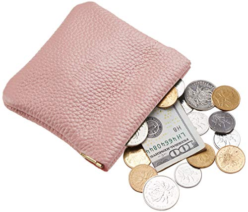 Travelambo Leather Squeeze Coin Purse Pouch Change Holder For Men & Women (Pebble Pink Deep) ()