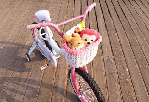 Colorbasket 01273 Kid's Front Handlebar Bike Basket, White with Pink Trim